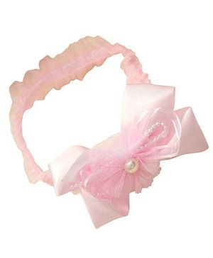 Akinos Kids Ribbon Bow & Pearls Headband - Light Pink