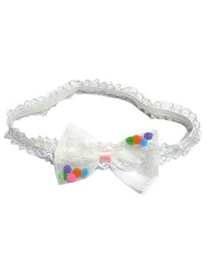 Akinos Kids Net Bow With Beads Headband - White