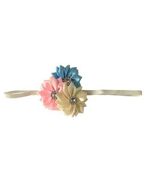 Akinos Kids Satin Flower Headband - Blue & White
