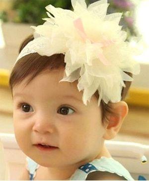 Akinos Kids Bow Knot Flower Petal Headband - Beige