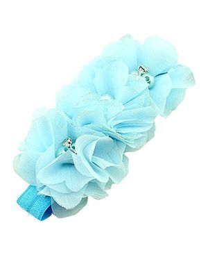 Akinos Kids Gorgeous Flower Headband With Pearls & Diamonds - Aqua Blue
