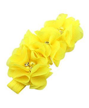 Akinos Kids Gorgeous Flower Headband With Pearls & Diamonds - Yellow