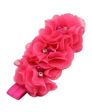Akinos Kids Gorgeous Flower Headband With Pearls & Diamonds - Fuchsia