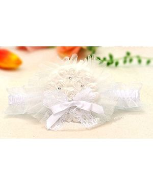 Akinos Kids Designer Flower Headband With Ribbon Bow - White