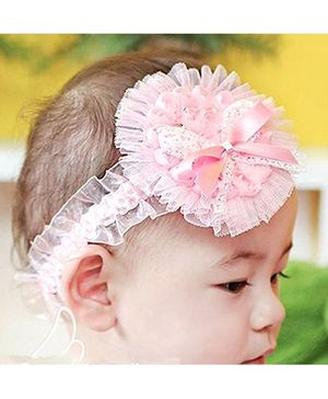 Akinos Kids Designer Flower Headband With Ribbon Bow - Light Pink