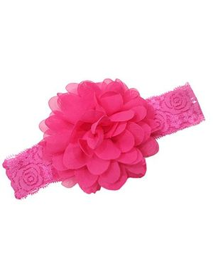 Akinos Kids Designer Net Headband With Flower - Fuchsia