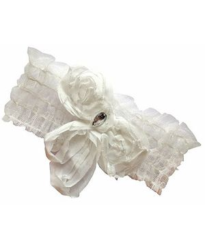 Akinos Kids Floral Lace Headband - White