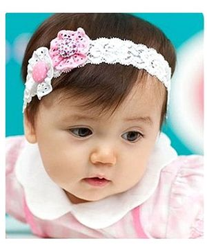 Akinos Kids Cute Two Flower Headband - White