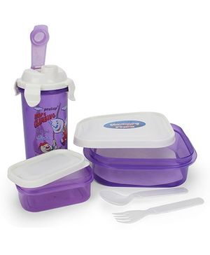 Pratap Hungry Time Lunch Box Set Rope Climbing Print - Purple