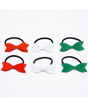 D'chica I Love India Set Of 6 Stylish Rubberbands - Orange Green & White