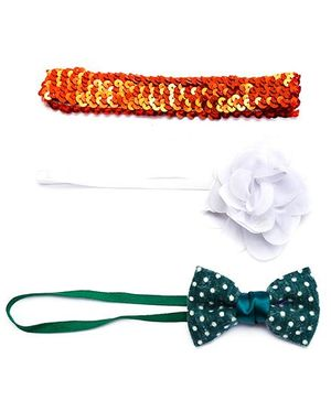 D'chicaI Love India Set Of 3 Head Bands - Orange Green & White