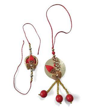 Dells World Rakhi & Lumba Set - Red & Copper