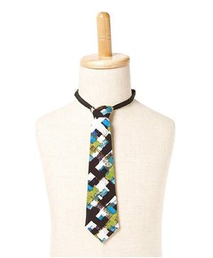 Brown Bows Graphic Check Tie - Multicolour