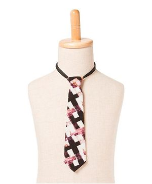 Brown Bows Graphic Checks Print Tie - Multicolour