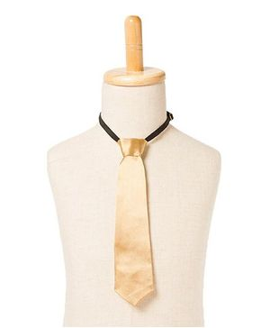 Brown Bows Satin Tie - Golden