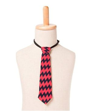 Brown Bows Chevron Tie - Red Navy