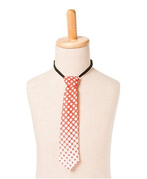 Brown Bows Grading Polka Tie - Orange White