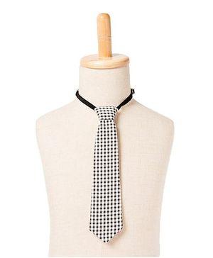 Brown Bows Check Tie - Black White