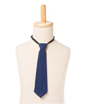 Brown Bows Denim Tie - Blue