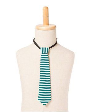 Brown Bows Stripe Tie - Green White