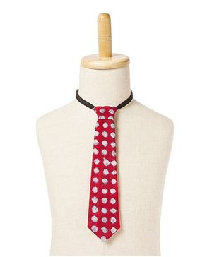Brown Bows Smudged Polka Dot Tie - Red