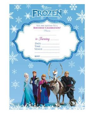 Disney Frozen Invitations Cards With Envelope Blue - Pack of 10