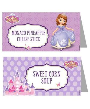 Disney Sofia The First Enchanted Garden Party Food Labels - Pack of 10
