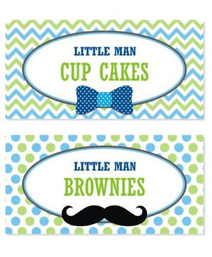 Prettyurparty Little Man Theme Food And Buffet Table Cards