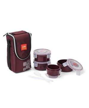 Cello Homeware Max Fresh Lunch Box Set of 4 - Maroon