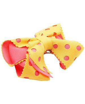 NeedyBee Girls Polka Dot Bow Hair Clip - Yellow & Peach
