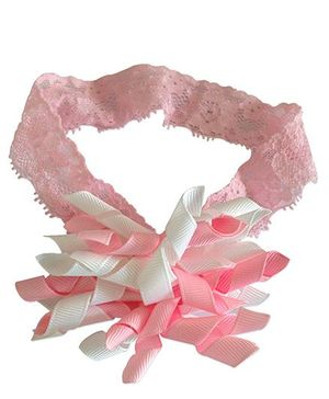 NeedyBee Korker Bow Soft Lace Headband - Pink