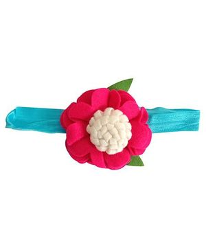 NeedyBee Felt Flower Baby Headband - Fuchsia Pink & Blue