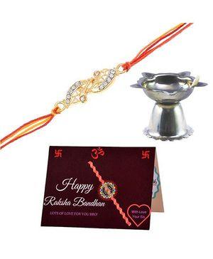 Angel Glitter Bhai-Behan Ka Atoot Rishta CZ Diamond Rakhi Set With Pooja Diya