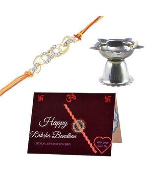 Angel Glitter Alpha Man Happy Raksha Bandhan CZ Diamond Rakhi Set With Pooja Diya