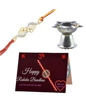 Angel Glitter Alpha Man Family Comes First CZ Diamond Rakhi Set With Pooja Diya