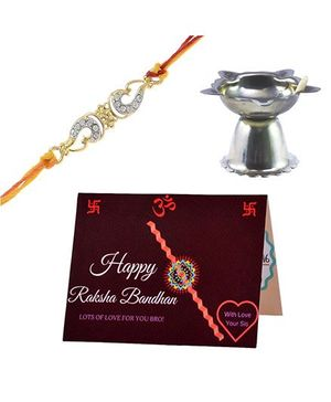 Angel Glitter Alpha Man My Dearest Bro CZ Diamond Rakhi Set With Pooja Diya
