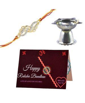 Angel Glitter Alpha Man Yeh Bhai Behen Ka Khoobsurat Rishta CZ Diamond Rakhi Set With Diya