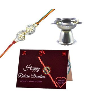 Angel Glitter Proud of My Bro CZ Diamond Rakhi Set With Pooja Diya