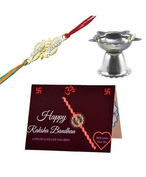 Angel Glitter Alpha Man Chanda Re Mere Bhaiya CZ Diamond Rakhi Set With Pooja Diya