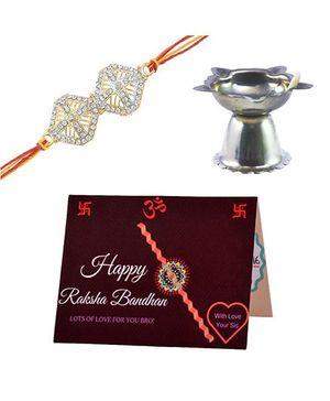 Angel Glitter Alpha Man 1 Bro of Mine CZ Diamond Rakhi Set With Pooja Diya