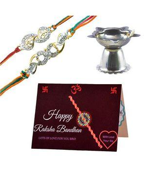 Angel Glitter Alpha Man Pyaar Vishwaas Aur Dulaar CZ Diamond Studded Rakhi With Diya - Set of 2
