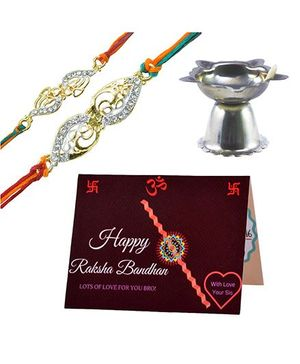 Angel Glitter Alpha Man Ek Hazaron Me Mere Bhaiya Hain CZ Diamond Studded Rakhi With Diya - Set of 2
