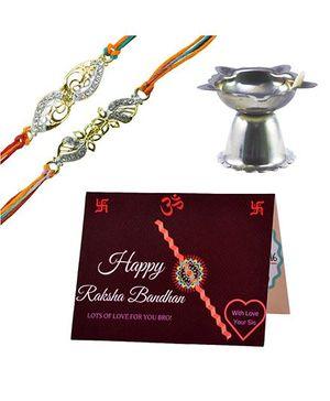Angel Glitter Alpha Man Hum Dono Rannvijay Aur Veera CZ Diamond Studded Rakhi With Diya - Set of 2