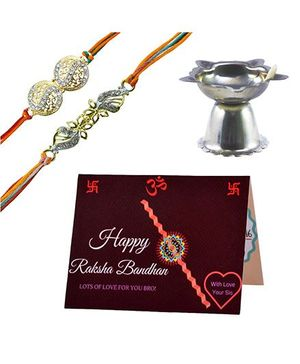 Angel Glitter Alpha Man Ek Anokha Pyaar Bhai-Behen Ka CZ Diamond Studded Rakhi With Diya - Set of 2