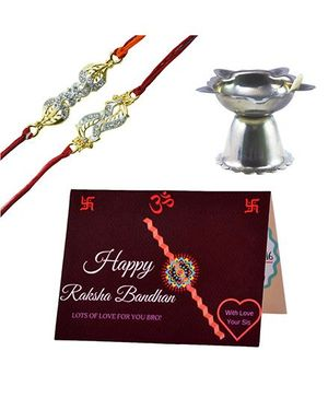 Angel Glitter Alpha Man Trendy Rakhi for Stylish Bro CZ Diamond Studded Rakhi With Diya - Set of 2