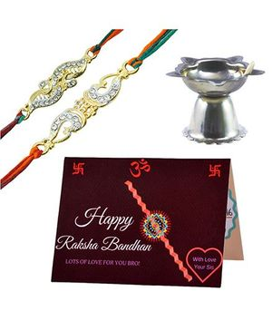 Angel Glitter Alpha Man Rakhi Gift Extraordinaire CZ Diamond Studded Rakhi With Diya - Set of 2