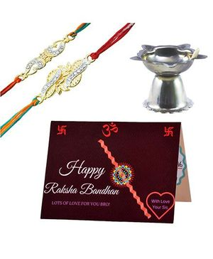 Angel Glitter Alpha Man Rakhi Ka Tyohaar Sis Ka Pyaar CZ Diamond Studded Rakhi With Diya - Set of 2