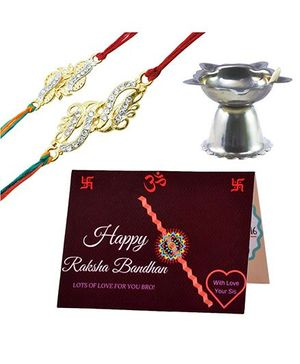 Angel Glitter Alpha Man Lil Sis Big Bro CZ Diamond Studded Rakhi With Diya - Set of 2