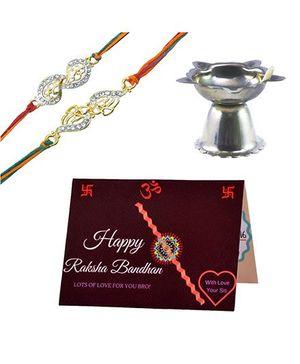 Angel Glitter Alpha Man I Love You Bro CZ Diamond Studded Rakhi With Diya - Set of 2