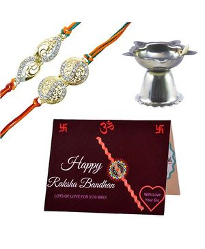 Angel Glitter Alpha Man I Love My Bhaiya CZ Diamond Studded Rakhi With Diya - Set of 2